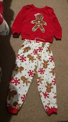 Girls Velour Warm Winter Gingerbread Pyjamas Age 3-4 Years Christmas