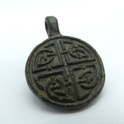 Celtic Scandinavian Ancient Artifact Bronze Pendant Double Sides Celtic Cnot