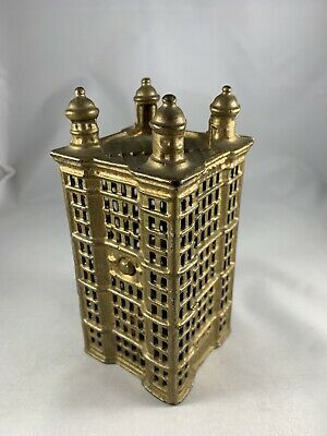 Antique Cast Iron Piggy Bank of Tower Building by AC Williams Vintage Still 5.5""