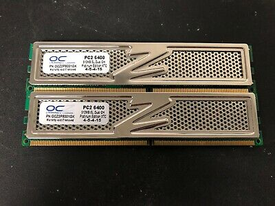 240-Pin DDR2 800 Dual Channel Kit PC2 6400 2 x 1GB OCZ Platinum Rev 2 2GB