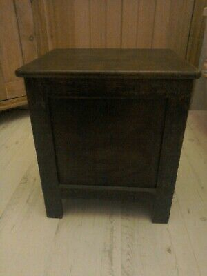 Antique oak wooden box with hinged lid. Use as stool or table