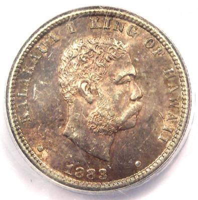 1883 Hawaii Kalakaua Quarter 25C Coin - Certified ANACS MS60 Details (UNC)!