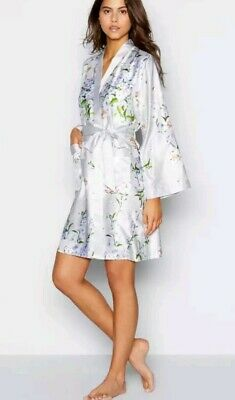 B by Ted Baker Grey Floral 'Graceful' Satin Dressing Gown Size 8/10 BNWT RRP£40