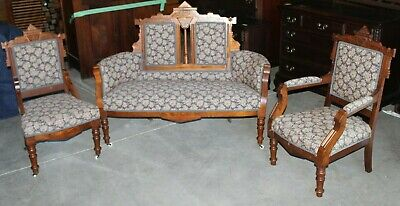 Late Victorian/Eastlake Style Parlor Set - Settee and Two Chairs