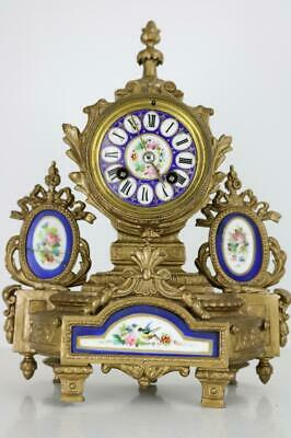 ANTIQUE FRENCH MANTEL CLOCK gilt metal and painted porcelain panels JAPY FRERES