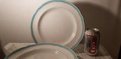 Antique Copeland 1850 - 90 /  6 x Dinner Plates Turquoise Band