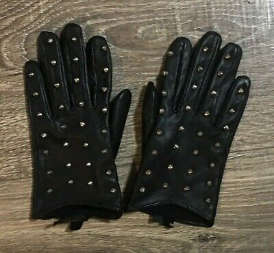 100% Leather Spike Studded Gloves Black Rare - Studs on Whole Finger Size S/M