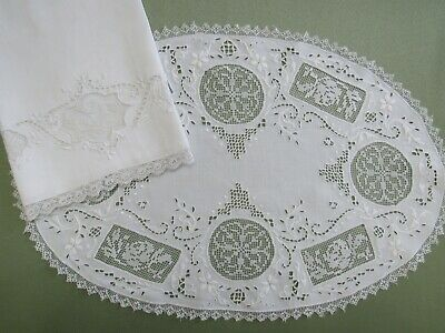Antique Filet Lace Guest Show Towel & Large Oval Doily ROSES w/ Cutwork