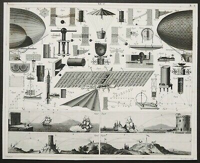 1870 Antique engraving EARLY FLYING MACHINES. Airships. Steampunk era. 150 years