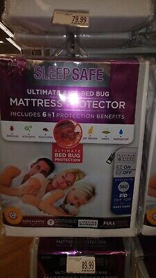 """Waterproof Zippered 9"""" Vinyl Mattress Cover PROTECTOR Full Antimicrobial finish"""