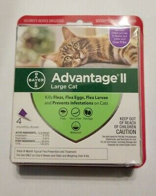 Bayer Advantage II Flea Treatment for Large Cats Over 9 lbs 4 dose FREE SHIPPING