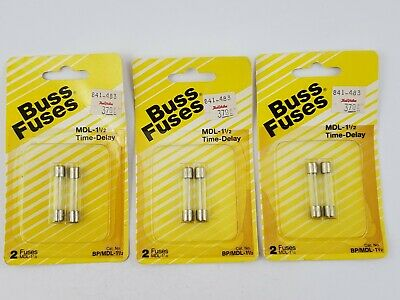 1//8 amp Time Delay Box of 5 Buss Fuses MDL-1//8-R aka Slow Blow