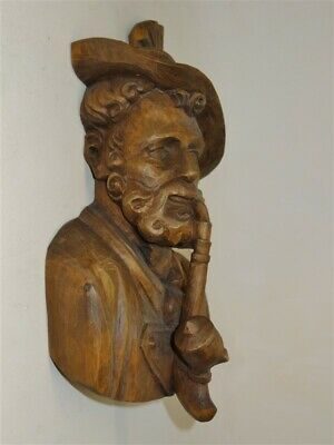 ANTIQUE BLACK FOREST Carved Wood German Swiss Austrian Man Smoking Pipe