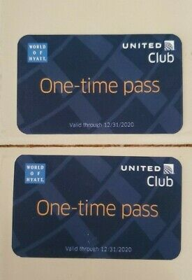Two (2) United Club One Time Passes - Expiring on December 31, 2020