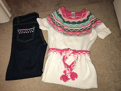 Gymboree WILD FOR HORSES Sweater Tunic (7/8) & Jeans (8)