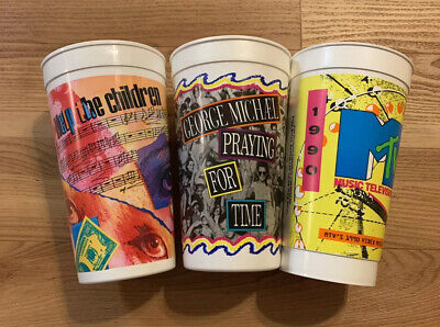 Vintage 90's Taco Bell Promo Drink Cups George Michael MTV Help The Children