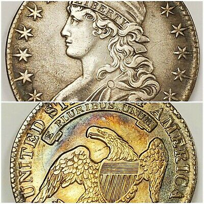 1833 Capped Bust Half | nearly MONSTER TONED in high circ GRADE | ORIGINAL surfs