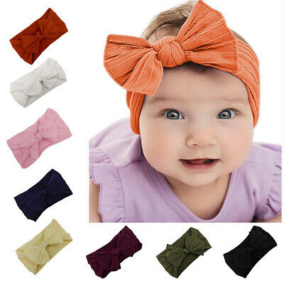 LD_ Toddler Girls Baby Turban Solid Headband Hair Band Bow Accessories Headwea