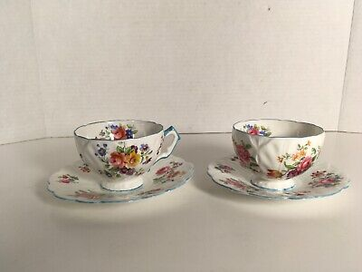 Aynsley 765788 Tea Cup and Saucer Flowers Blue Rim Cabbage Leaf Lot Of 2