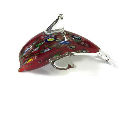 Murano Art Glass Dolphin Millefior Paperweight Figurine, Beautiful Red and Clear