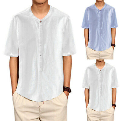 Men's Casual Slim Fit Formal Shirts Stand Collar Short Sleeve Cotton Tee Shirts