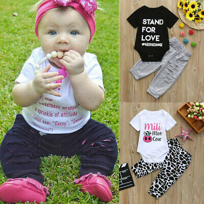 2Pcs Toddler Kids Baby Boys&Girls Clothes Letter Print Tops T-Shirt+Pants Outfit