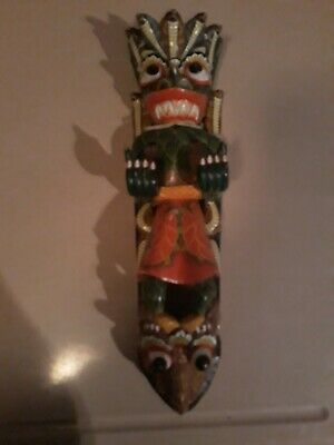 Wooden Totem Pole Mask Wall Hanging Art   Handmade Hand Carved Tribal Decor Wood