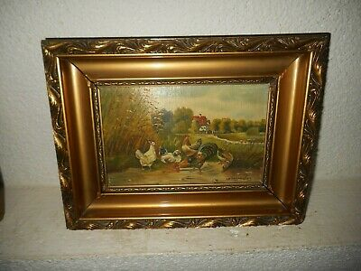 Very old oil painting 1. { 2 Roosters - 2 chickens and a duck, is signed }.