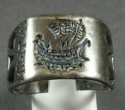 Ancient Roman Military Legionary Silver Ring Legion X Warship Circa 41/40 Bc