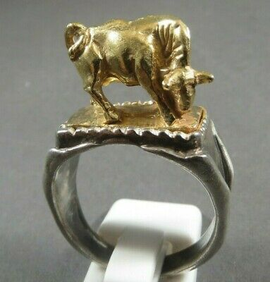 Ancient Roman Legionary Silver Gold Ring Bull Circa 50 Bc - 200 Ad Heavy Massive