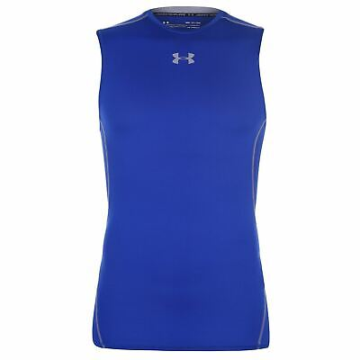 Under Armour HeatGear Baselayer Shirt Mens Royal Football Soccer Compression Top