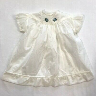 Vintage Sheer Baby Girls Toddler Slip Dress Rob Roy White Lace Pretty Nightgown