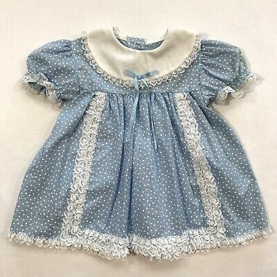 Vintage Jc Penny Toddle Time Baby Girl Dress Blue Floral Lace Bib Hearts Toddler