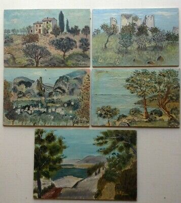 Lot 5 Tableaux Huile Postimpressionniste Paysage Marine style Yves Brayer c1960