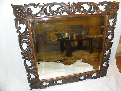 Antique Gothic Victorian 19th Century large carved wooden over mantle mirror