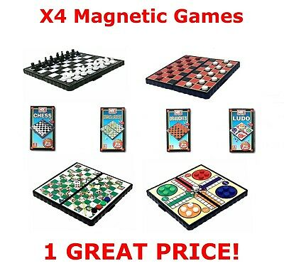 X4 Mini Magnetic Board Travel Games Snakes Ladders Draughts Chess Ludo Kids Play