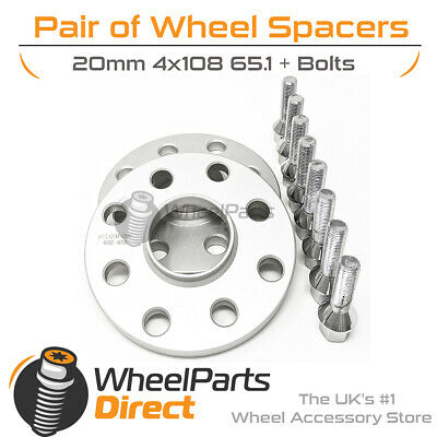 Wheel Spacers 20mm (2) Spacer Kit 4x108 65.1 +Bolts For Peugeot 207 06-12