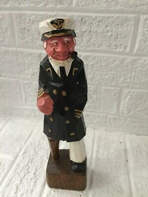 Vintage Wood Hand Carved Sea Captain With Peg Leg 10""