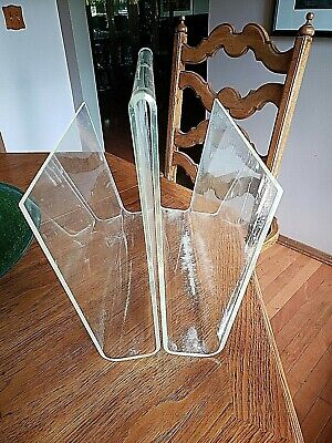 Authentic Mid Century Modern Lucite Magazine Rack/Vinyl LP Storage Acrylic