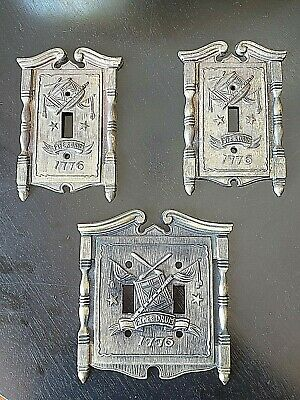VTG Set of 3 Brass light switch covers AmericanTack HDWE Co. Fyfe and Drum 1776