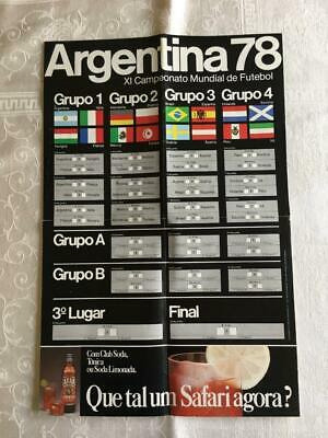 Vtg Unused World Cup Argentina 78 Futebol Soccer Poster Scorecard Ad for Safari