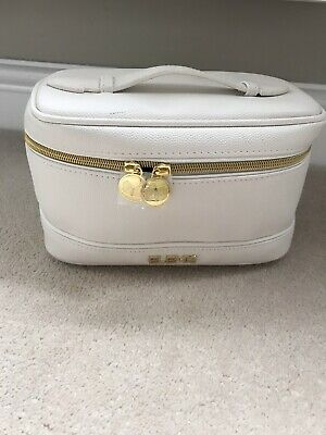 Elemis Cosmetic Wash Bag Make Up White/Cream & Gold Blue Interior Never Used