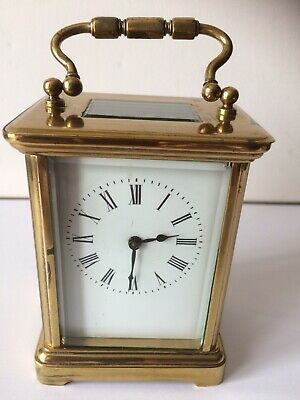 Antique Brass and Bevelled Glass Carriage Clock  France with Key Working Order