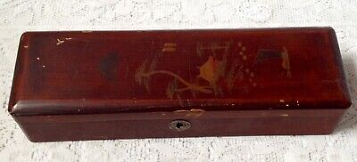 Antique Chinese Red Laquered Glove Box, Hand Decorated