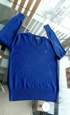 10 - 12 Years M Boys POLO Ralph Lauren Jumper V Neck Royal Blue Cotton Knitwear
