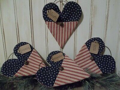 Sweet Primitive Handmade Americana Heart Ornaments - Summer/Farmhouse/Country