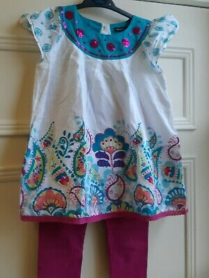 L@@K! Girls Mark's and Spencer tunic & Monsoon leggings outfit aged 6-7 years