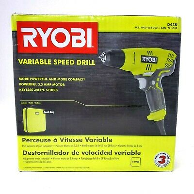 Variable Speed Compact Drill//Driver with Bag RYOBI 5.5 Amp Corded 3//8 in
