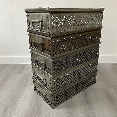 Vintage industrial stacking bins, heavy gauge metal.