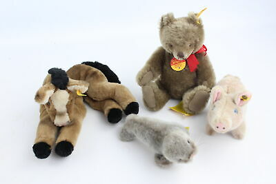 4 x Vintage STEIFF Teddy Bears / Toy Animals Inc Pig, Seal, Horse, Bear w/ Tags